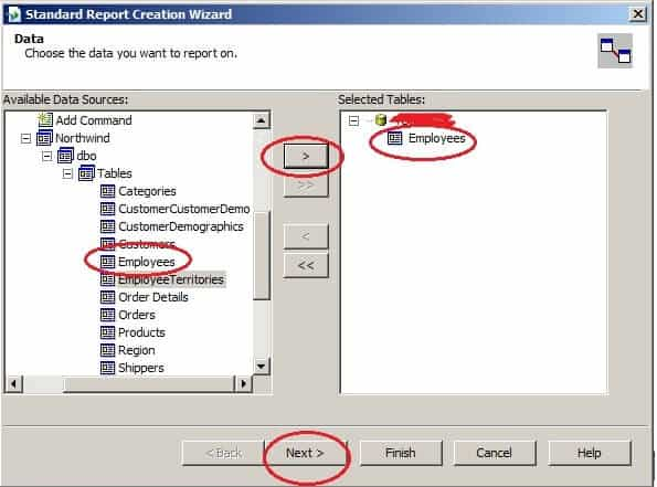 Create Your First Crystal Report - Add Table to the Report