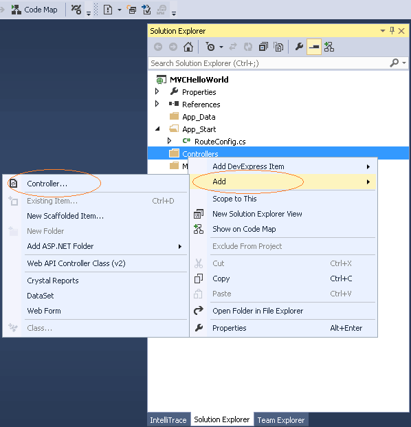 Add New ASP.NET MVC Controller