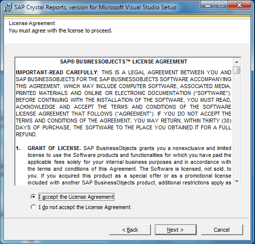 Crystal Report Installation License Agreement