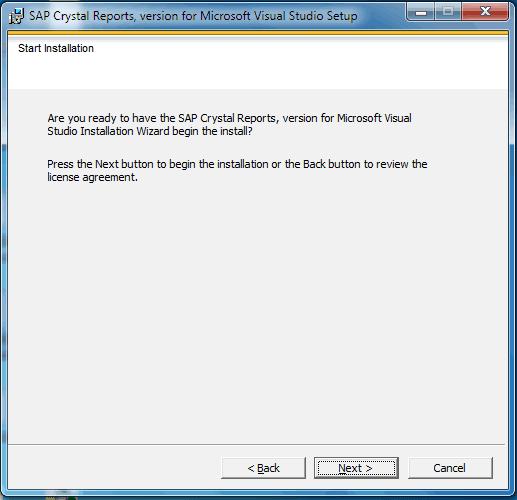 Crystal Report Installation Start Installation