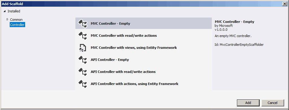 Add Scaffold for MVC Controllers