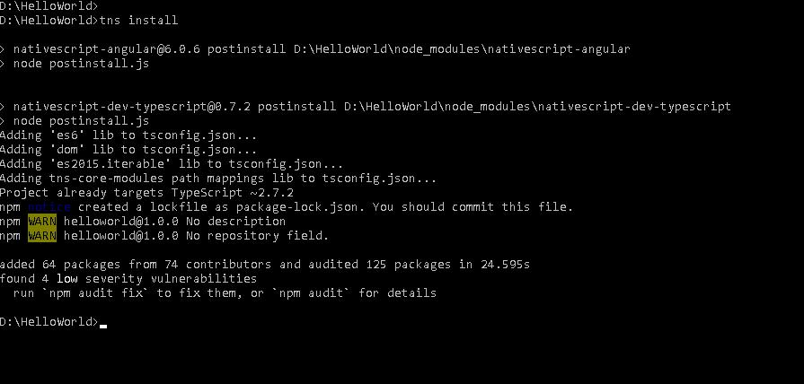 Installing Dependencies Using tns Install