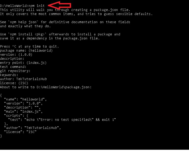 NativeScript App Create package .json file using npm init