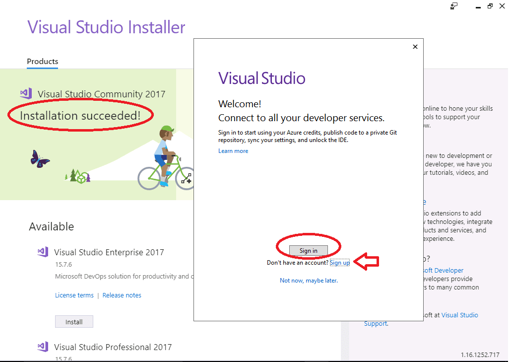Registering your copy of Visual Studio 2017