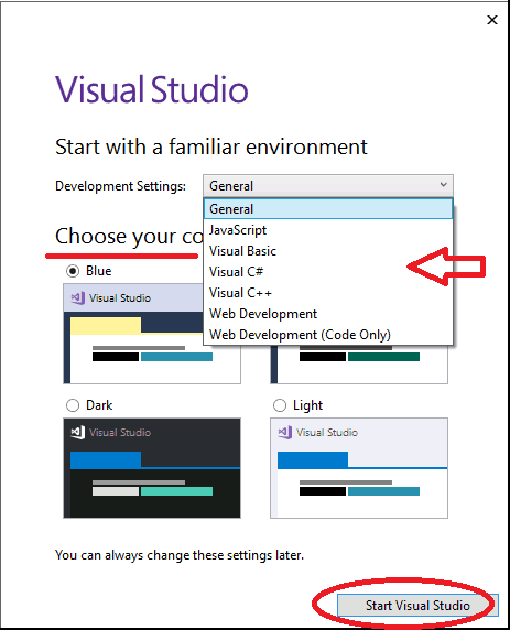 Start Visual Studio 2017